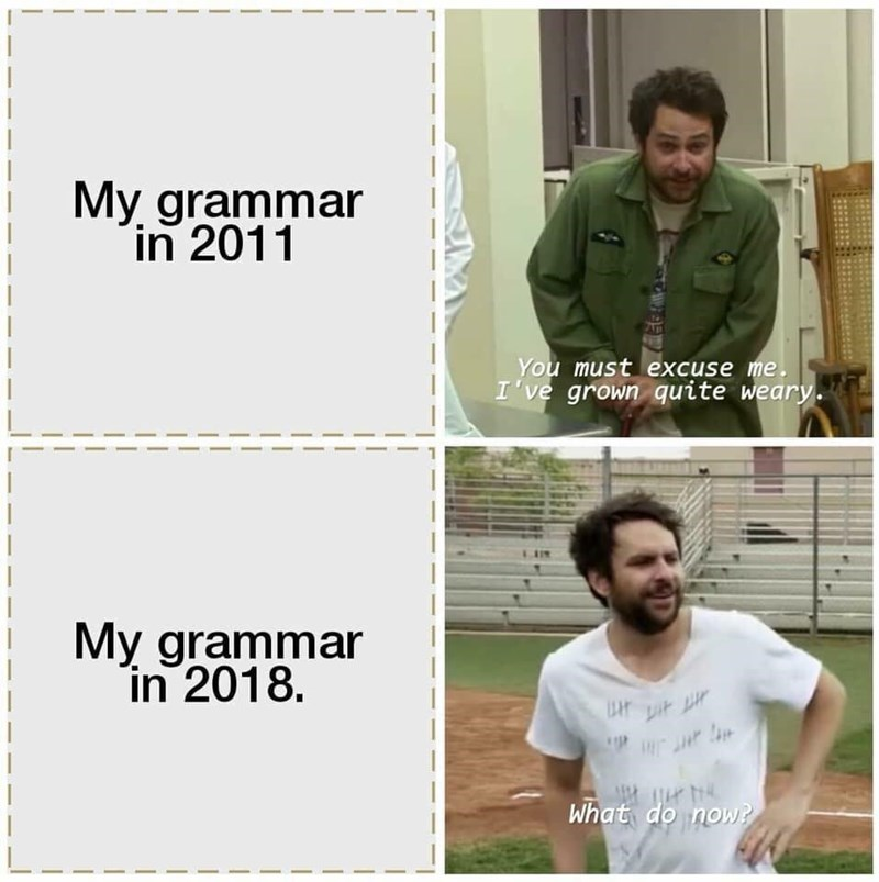 Meme - Text - My grammar in 2011 You must excuse me. I've grown quite weary. My grammar in 2018 What do now?