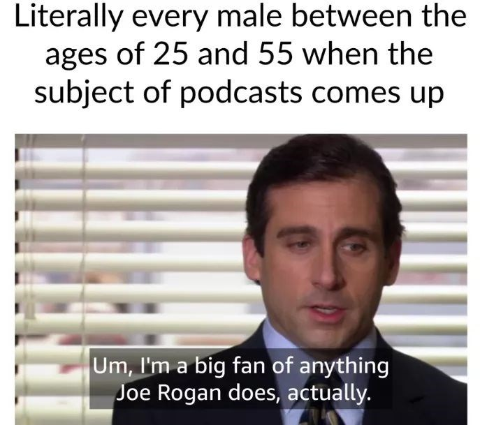 Meme - Text - Literally every male between the ages of 25 and 55 when the subject of podcasts comes up Um, I'm a big fan of anything Joe Rogan does, actually.