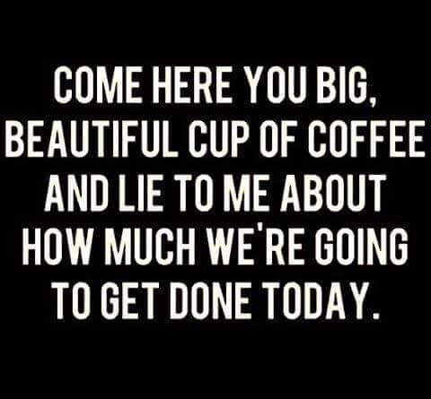 Meme - Font - COME HERE YOU BIG, BEAUTIFUL CUP OF COFFEE AND LIE TO ME ABOUT HOW MUCH WE'RE GOING TO GET DONE TODAY.