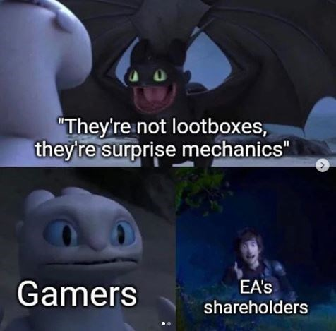 """Meme - Batman - """"They'reinot lootboxes, they're surprise mechanics"""" EA's shareholders Gamers"""