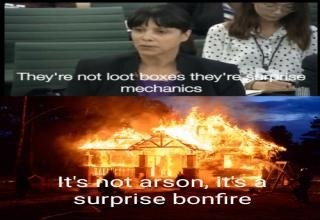 Meme - Movie - They're not loot boxes they're rise mechanics It's not arson, Its surprise bonfire