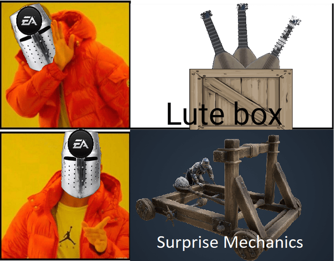 Meme - Action figure - EA Lute box EA Surprise Mechanics .