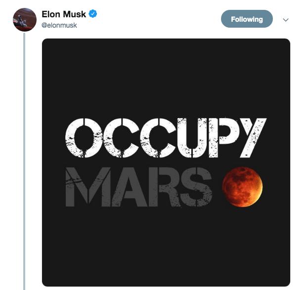 Text - Elon Musk Following @elonmusk OCCUPY MARS