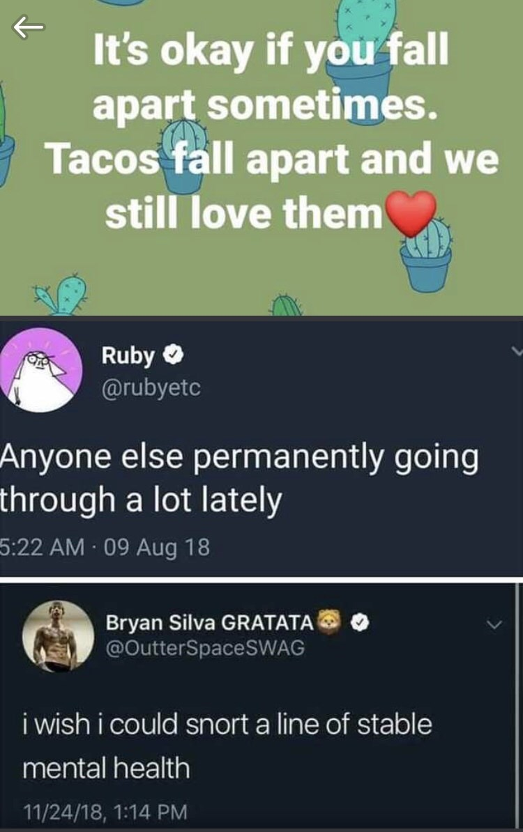 dark meme - Text - It's okay if you fall apart sometimes. Tacos fall apart and still love them Ruby @rubyetc Anyone else permanently going through a lot lately 5:22 AM 09 Aug 18 Bryan Silva GRATATA @OutterSpaceSWAG i wish i could snort a line of stable mental health 11/24/18, 1:14 PM