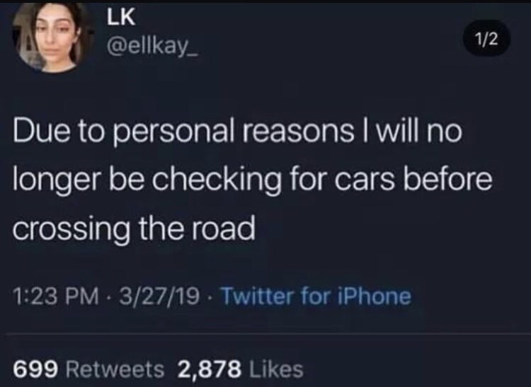 dark meme - Text - LK 1/2 @ellkay Due to personal reasons I will no longer be checking for cars before crossing the road 1:23 PM- 3/27/19 Twitter for iPhone 699 Retweets 2,878 Likes