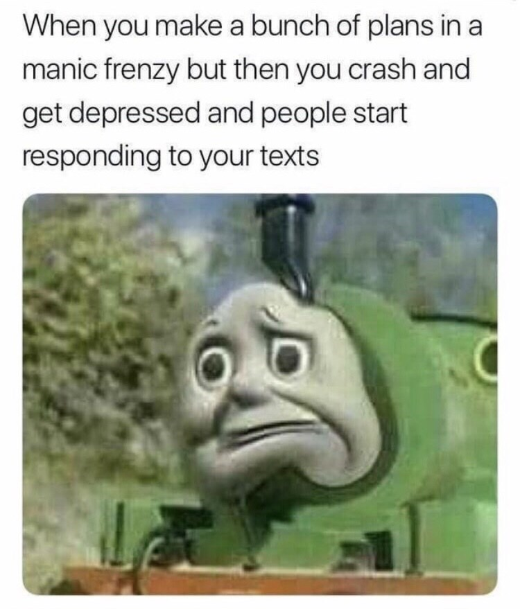 dark meme - Text - When you make a bunch of plans in a manic frenzy but then you crash and get depressed and people start responding to your texts