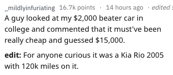 askreddit - Text - _mildlyinfuriating 16.7k points 14 hours ago edited A guy looked at my $2,000 beater car in college and commented that it must've been really cheap and guessed $15,000. edit: For anyone curious it was a Kia Rio 2005 with 120k miles on it.