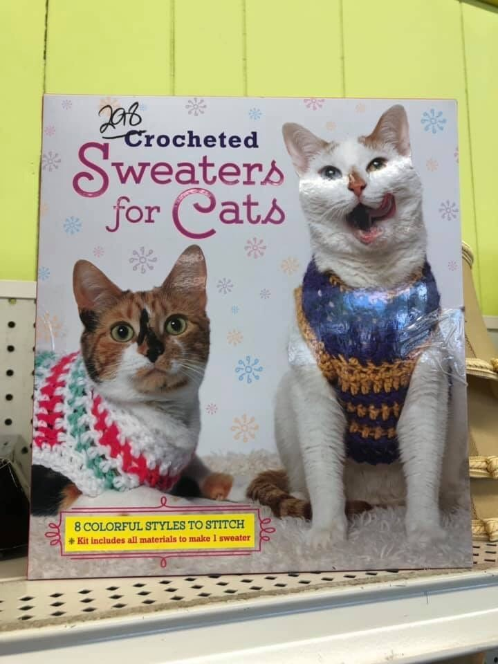 book - Cat - Crocheted Sweaters for Cats 4448 8 COLORFUL STYLES TO STITCH Kit includes all materials to make 1 sweater