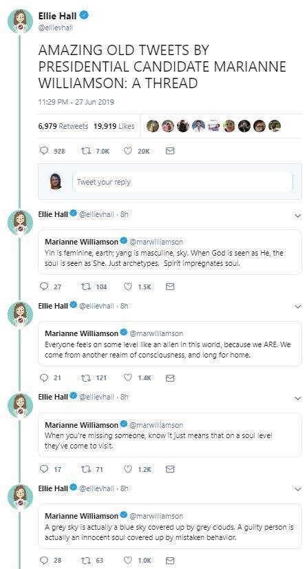 Tweet - AMAZING OLD TWEETS BY PRESIDENTIAL CANDIDATE MARIANNE WILLIAMSON: A THREAD