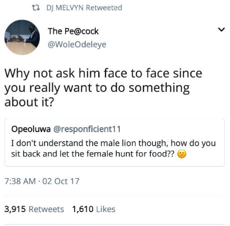 Text - t DJ MELVYN Retweeted The Pe@cock @WoleOdeleye Why not ask him face to face since you really want to do something about it? Opeoluwa @responficient11 I don't understand the male lion though, how do you sit back and let the female hunt for food?? 7:38 AM 02 Oct 17 3,915 Retweets 1,610 Likes