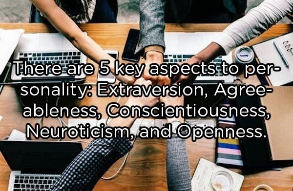 Product - There are 5 key aspectsstO per- sonalitys Extraversion, Agree ableness,Conscientiousness Neuroticismand Openness.