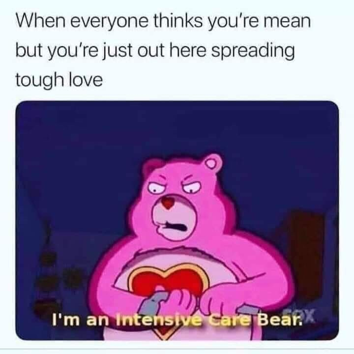 Meme - Cartoon - When everyone thinks you're mean but you're just out here spreading tough love I'm an Intensive Care Bear