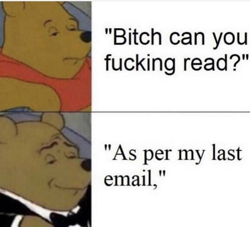 """Meme - Cartoon - """"Bitch can you fucking read?"""" """"As per my last email,"""""""