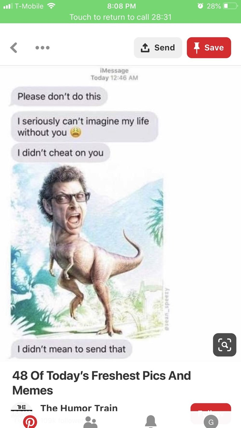 Meme - Text - O 28% iT-Mobile 8:08 PM Touch to return to call 28:31 1 Send Save IMessage Today 12:46 AM Please don't do this I seriously can't imagine my life without you I didn't cheat on you I didn't mean to send that 48 Of Today's Freshest Pics And Memes The Humor Train Axaadsurase