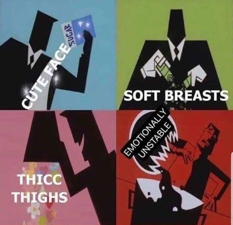 Meme - Graphic design - SOFT BREASTS THICC THIGHS CUTE FACE EMOTIONALLY UNSTABLE www.s