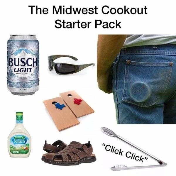 "Meme - Product - The Midwest Cookout Starter Pack BUSCH LIGHT tais ""Click Click"" Ranch"