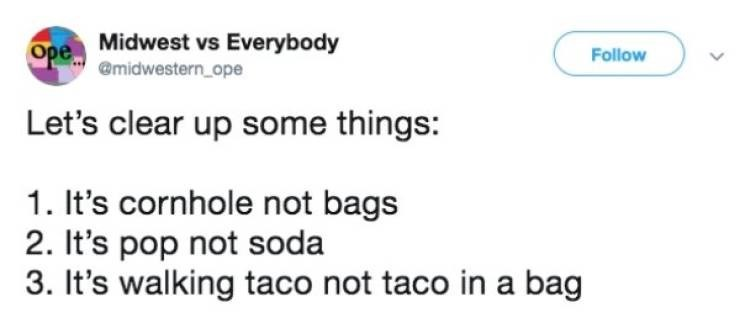 Meme - Text - Ope Midwest vs Everybody @midwestern_ope Follow Let's clear up some things: 1. It's cornhole not bags 2. It's pop not soda 3. It's walking taco not taco in a bag