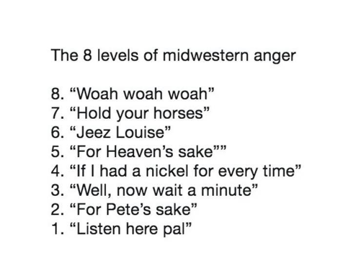 "Meme - Text - The 8 levels of midwestern anger 8. ""Woah woah woah"" 7. ""Hold your horses"" 6. ""Jeez Louise"" 5. ""For Heaven's sake"""" 4. ""If I had a nickel for every time"" 3. ""Well, now wait a minute"" 2. ""For Pete's sake"" 1. ""Listen here pal"""