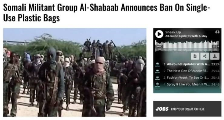 Headline - Army - Somali Militant Group Al-Shabaab Announces Ban On Single- Use Plastic Bags Sneak Up All-round Updates With Allday 23:24 0000 1 All-round Updates With A... 23:24 2 The Next Gen Of Au 3 Fashion Week: To See Or ... 20.48 4 Spray it Like You Me Aussie Fil 25:44 It W 2446 JOBS FIND YOUR DREAM JOB HERE