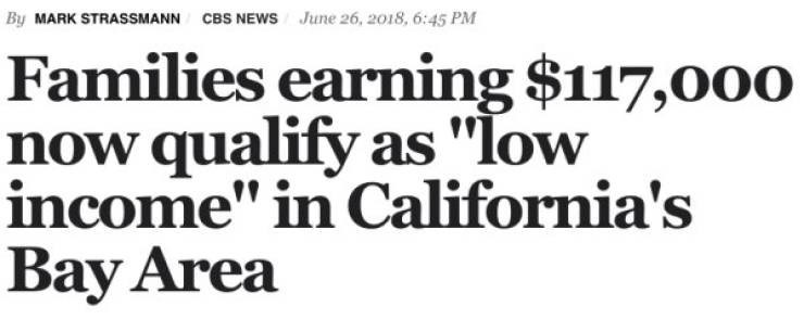 """Headline - Text - By MARK STRASSMANN June 26, 2018, 6:45 PM CBS NEWS Families earning $117,000 now qualify as """"low income"""" in California's Bay Area"""