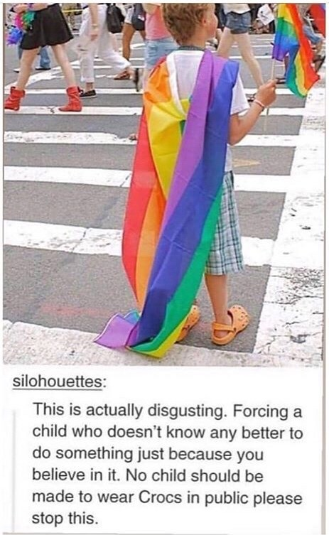 Funny meme about a child at gay pride wearing Crocs