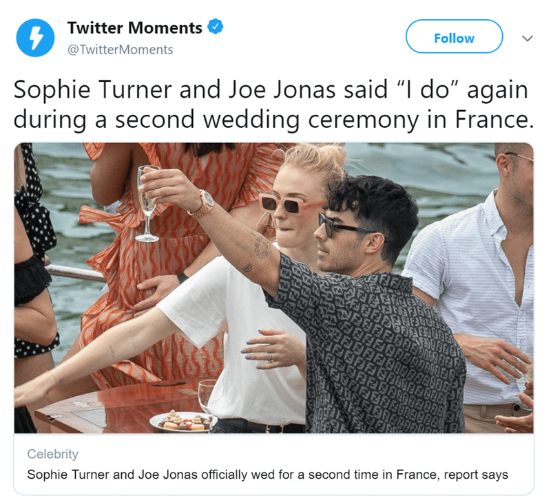 """dog at a wedding - Product - Follow Twitter Moments @ TwitterMoments Sophie Turner and Joe Jonas said """"I do"""" again during a second wedding ceremony in France. F FOF OFFEEEBeE HEELER IE 3CIELFEE TAFFIFREBBE KEFIEEEREE&FEEEE Celebrity Sophie Turner and Joe Jonas officially wed for a second time in France, report says"""
