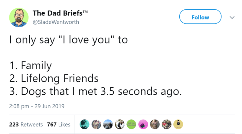 """funny animal tweets - - Text - The Dad BriefsTM Follow @SladeWentworth I only say """"I love you"""" to 1. Family 2. Lifelong Friends 3. Dogs that I met 3.5 seconds ago. 2:08 pm 29 Jun 2019 223 Retweets 767 Likes Gailt Free Motherhosd"""