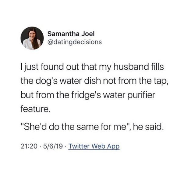 "Text - Samantha Joel @datingdecisions Ijust found out that my husband fills the dog's water dish not from the tap, but from the fridge's water purifier feature. ""She'd do the same for me"", he said. 21:20 5/6/19 Twitter Web App"