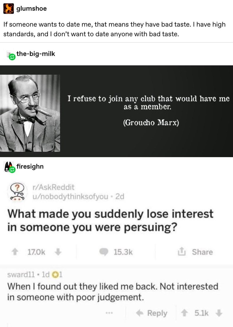 Funny AskReddit post about losing interest in someone who shows interest in you due to poor judgment