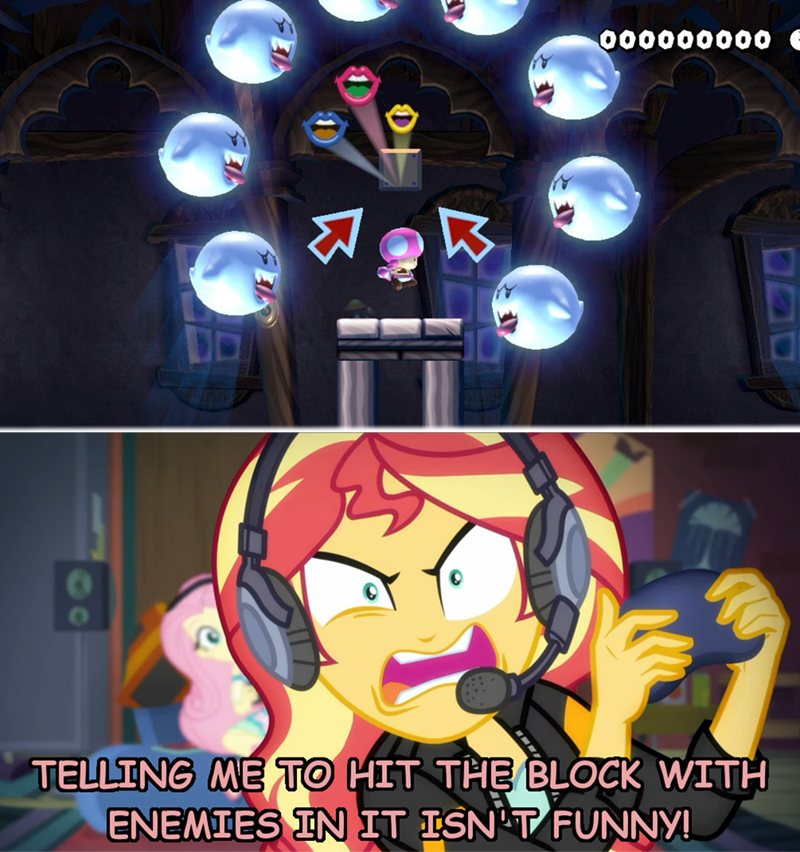equestria girls screencap game stream sunset shimmer fluttershy mario super mario maker - 9325791488