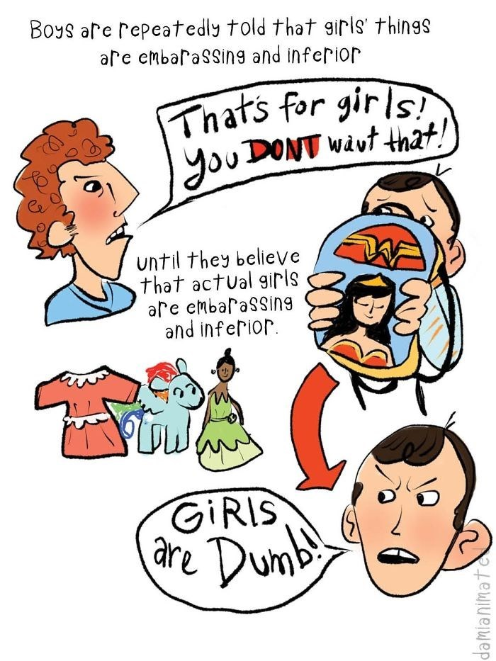 Cartoon - Boys are repeatedly told that girls' things are embaraSSing and inferior Thats for girls youDONT wavt that! until they believe that actual girls are embaraSsing and inferior GIRIS are Dum damlanimate