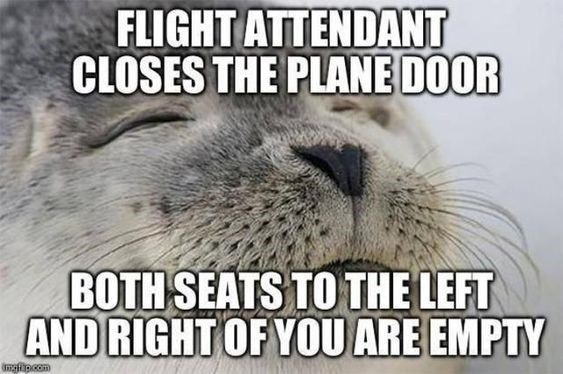 vacation meme - Snout - FLIGHT ATTENDANT CLOSES THE PLANE DOOR BOTH SEATS TO THE LEFT AND RIGHT OF YOOU ARE EMPTY imgfipcom