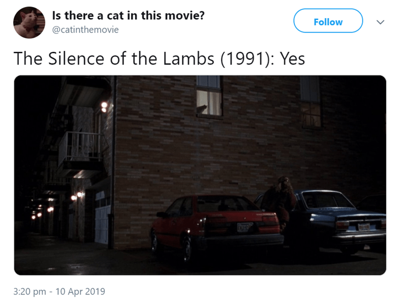 Vehicle - Is there a cat in this movie? Follow @catinthemovie The Silence of the Lambs (1991): Yes 3:20 pm 10 Apr 2019