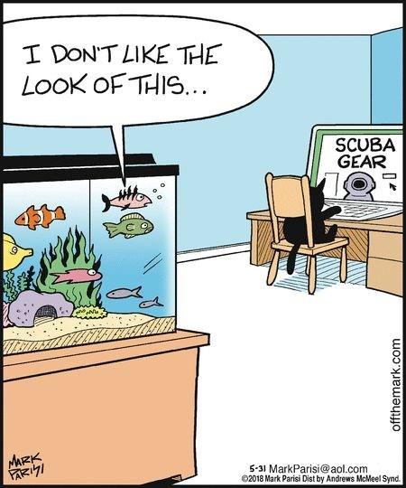 Cartoon - I DONT LIKE THE LooK OF THIS. SCUBA GEAR MARK PaRizi 5-31 MarkParisi@aol.com 2018 Mark Parisi Dist by Andrews McMeel Synd. offthemark.com