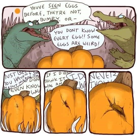 Comics - YouvE SEEN CG6S BEFORE, THEYRE NOT BU MPY oR- You DONT KNOW EVERY EGG!! Some E6GS ARE WEIRD! UST Be tou HAvE DEESNT DON EVEN KNOVJAS AN TH IFI DIDN THINK IT DINENE WH TS