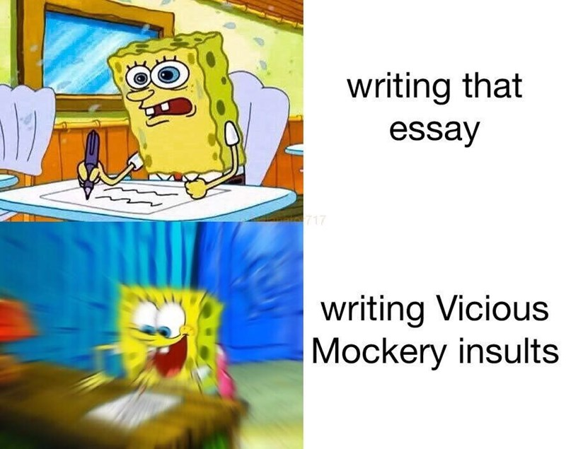 Cartoon - writing that essay 717 writing Vicious Mockery insults