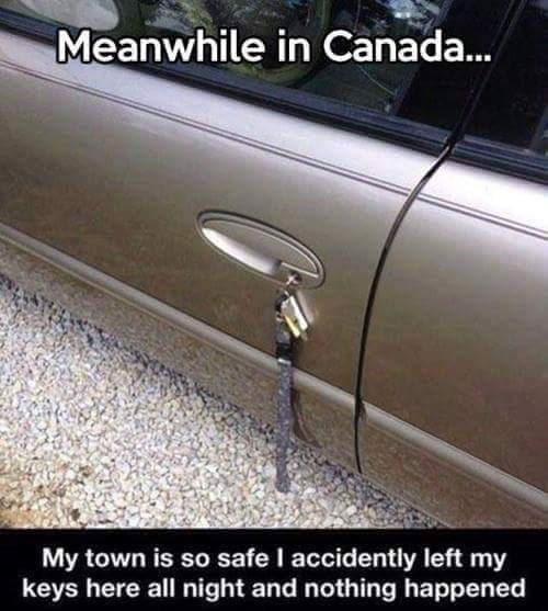 Meme - Vehicle door - Meanwhile in Canada... My town is so safe I accidently left my keys here all night and nothing happened