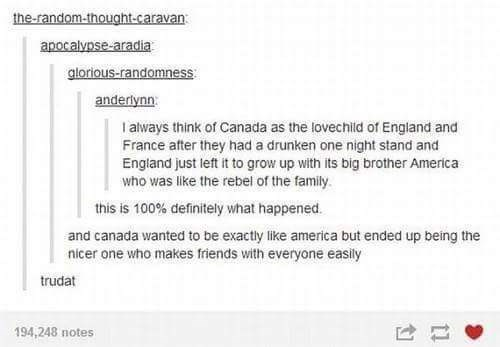 Meme - Tumblr - I always think of Canada as the lovechiid of England and France after they had a drunken one night stand and England just left it to grow up with its big brother America who was like the rebel of the family. this is 100% definitely what happened. and canada wanted to be exactly like america but ended up being the nicer one who makes friends with everyone easily