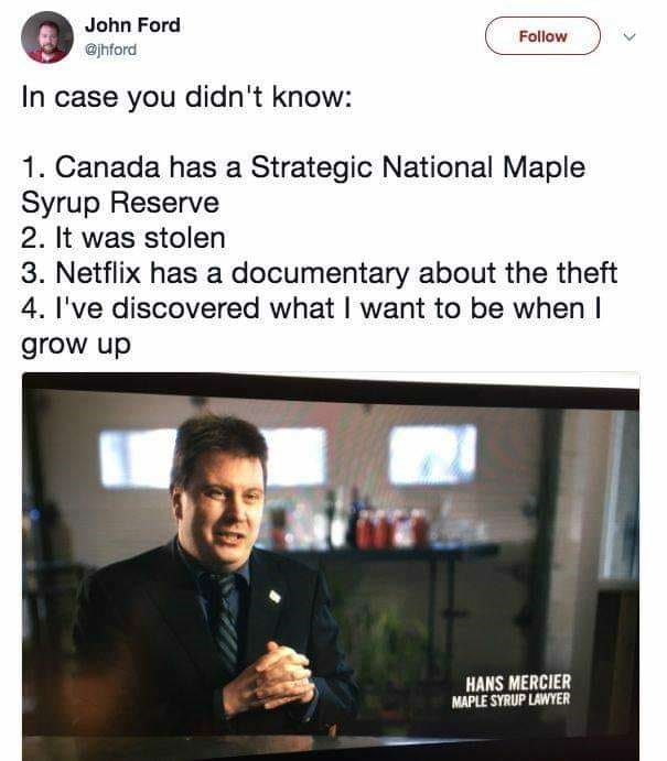 Meme - Text - John Ford @jhford Follow In case you didn't know: 1. Canada has a Strategic National Maple Syrup Reserve 2. It was stolen 3. Netflix has a documentary about the theft 4. I've discovered what I want to be when I grow up HANS MERCIER MAPLE SYRUP LAWYER