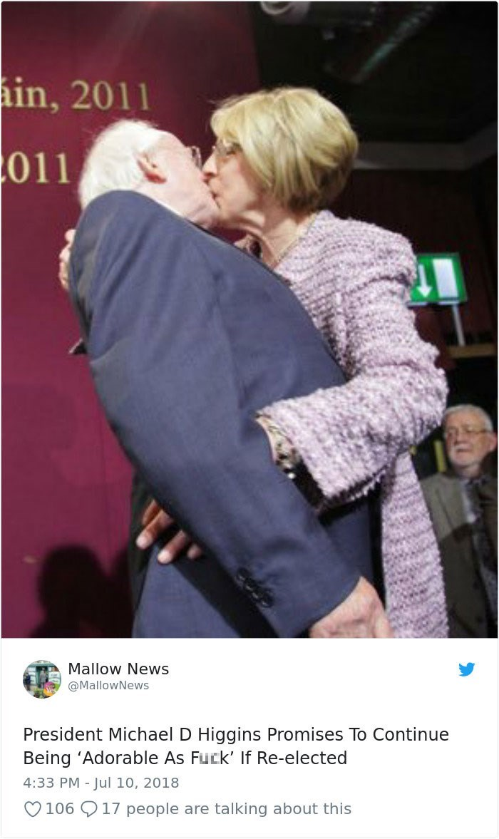 Tweet - President Michael D Higgins Promises To Continue Being 'Adorable As Fuck' If Re-elected