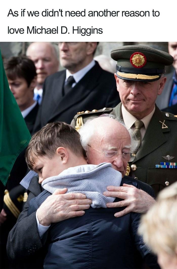 Tweet - As if we didn't need another reason to love Michael D. Higgins - hug