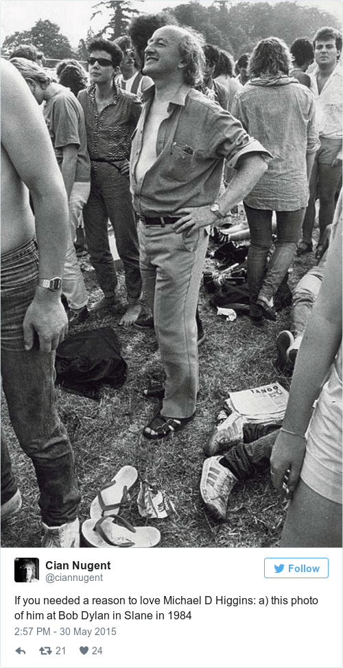 Tweet - Photography - ANO9 Cian Nugent @ciannugent Follow If you needed a reason to love Michael D Higgins: a) this photo of him at Bob Dylan in Slane in 1984 2:57 PM - 30 May 2015 24 t21
