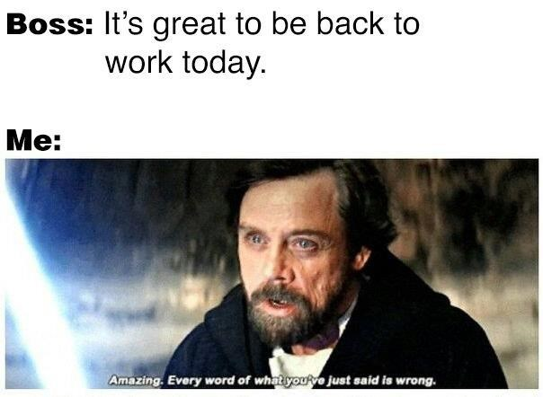 Text - Boss: It's great to be back to work today. Me: Amazing. Every word of whatyouRve just said is wrong.