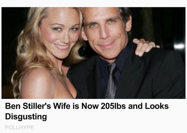 Photograph - Ben Stiller's Wife is Now 205lbs and Looks Disgusting POLLHYPE