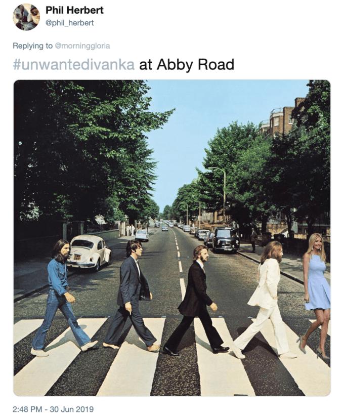 Photoshop - Transport - Phil Herbert @phil_herbert Replying to @morninggloria #unwantedivanka at Abby Road 2:48 PM-30 Jun 2019