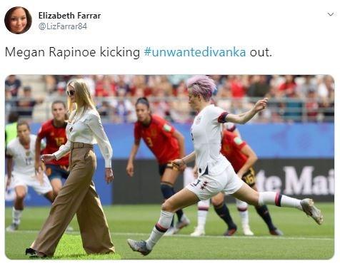 Photoshop - Photograph - Elizabeth Farrar @LizFarrar84 Megan Rapinoe kicking #unwantedivanka out. tteMai