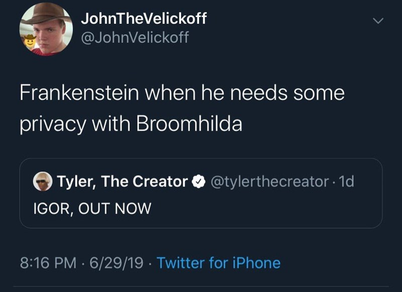 meme - Text - JohnTheVelickoff @JohnVelickoff Frankenstein when he needs some privacy with Broomhilda @tylerthecreator 1d Tyler, The Creator IGOR, OUT NOW 8:16 PM 6/29/19 Twitter for iPhone