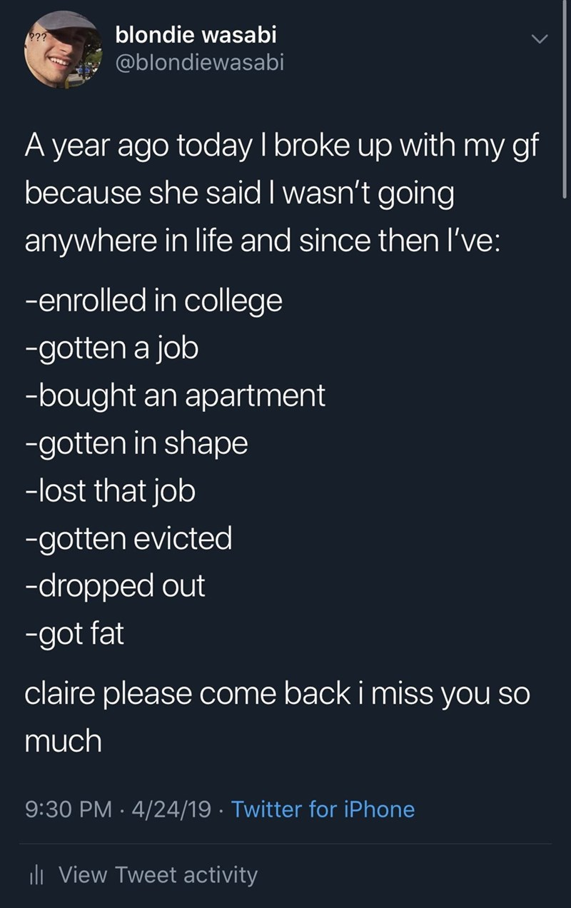 meme - Text - blondie wasabi ?? @blondiewasabi A year ago today I broke up with my gf because she said I wasn't going anywhere in life and since then I've: -enrolled in college -gotten a job -bought an apartment -gotten in shape -lost that job -gotten evicted -dropped out -got fat claire please come back i miss you so much 9:30 PM 4/24/19 Twitter for iPhone li View Tweet activity
