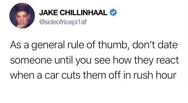 meme - Text - JAKE CHILLINHAAL @sideofricepi1af As a general rule of thumb, don't date someone until you see how they react when a car cuts them off in rush hour