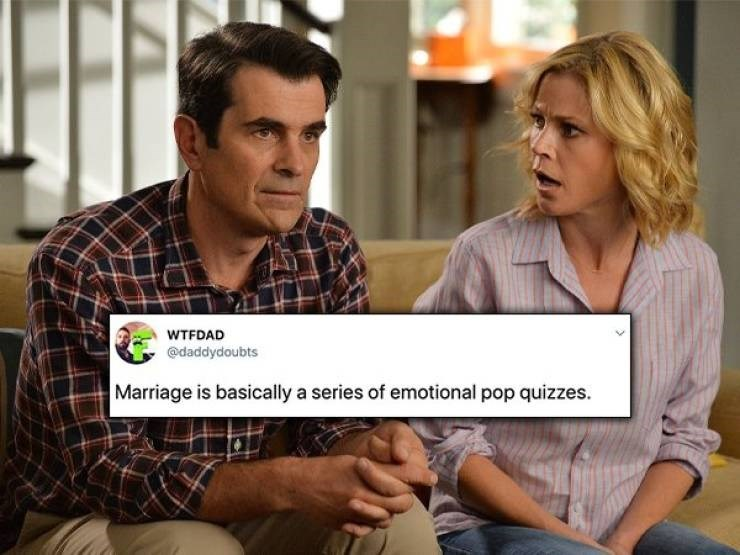 tweet - Product - WTFDAD @daddydoubts Marriage is basically a series of emotional pop quizzes